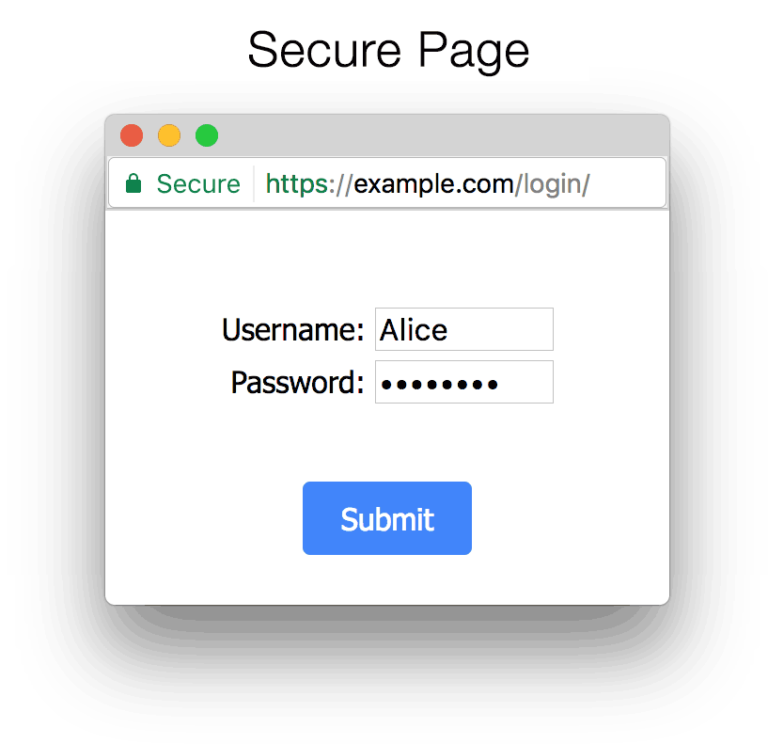 Google Chrome browser secure web page