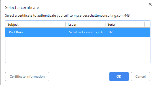Windows select Authentication Certificate